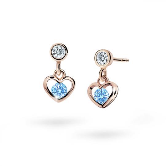 Children's earrings Danfil Hearts C1943 Rose gold, Arctic Blue, Butterfly backs