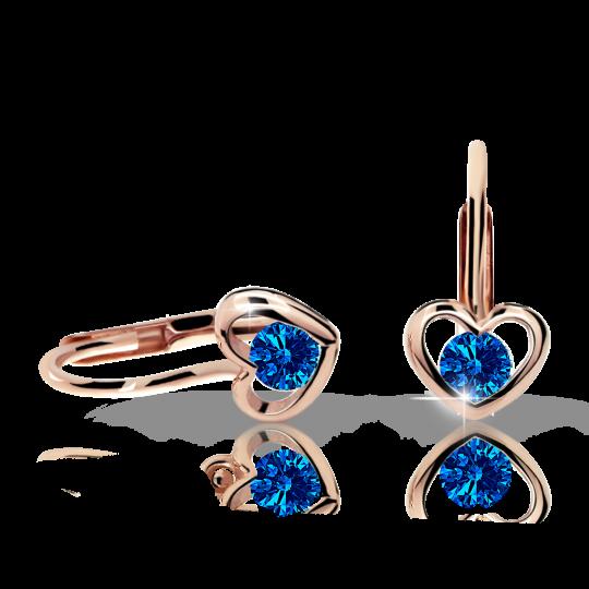 Children's earrings Danfil Hearts C1943 Rose gold, Dark Blue, Leverbacks