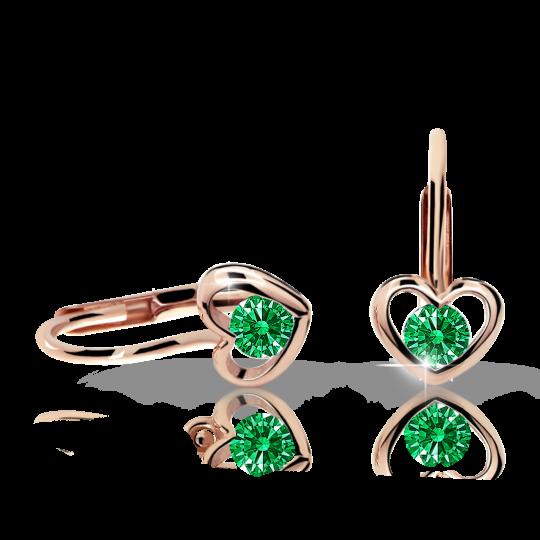 Children's earrings Danfil Hearts C1943 Rose gold, Emerald Green, Leverbacks