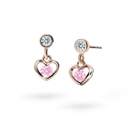 Children's earrings Danfil Hearts C1943 Rose gold, Pink, Butterfly backs