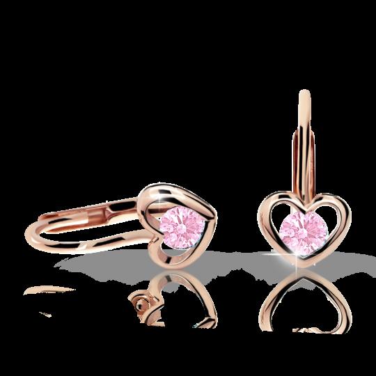 Children's earrings Danfil Hearts C1943 Rose gold, Pink, Leverbacks