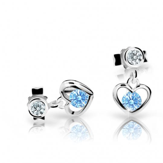 Children's earrings Danfil Hearts C1943 White gold, Arctic Blue, Butterfly backs