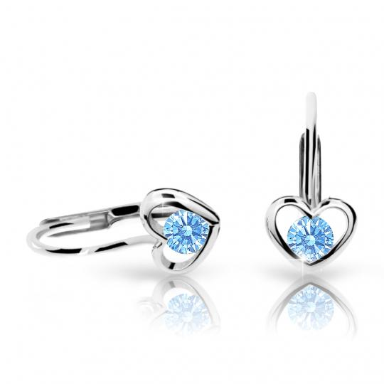 Children's earrings Danfil Hearts C1943 White gold, Arctic Blue, Leverbacks