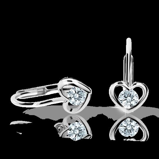 Children's earrings Danfil Hearts C1943 White gold, White, Leverbacks