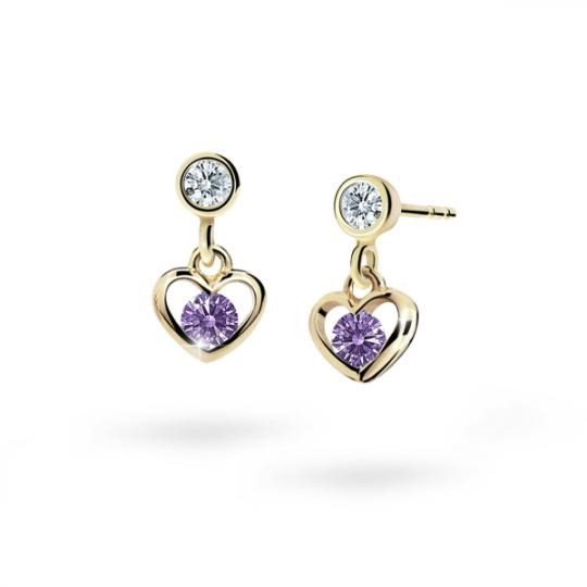 Children's earrings Danfil Hearts C1943 Yellow gold, Amethyst, Butterfly backs