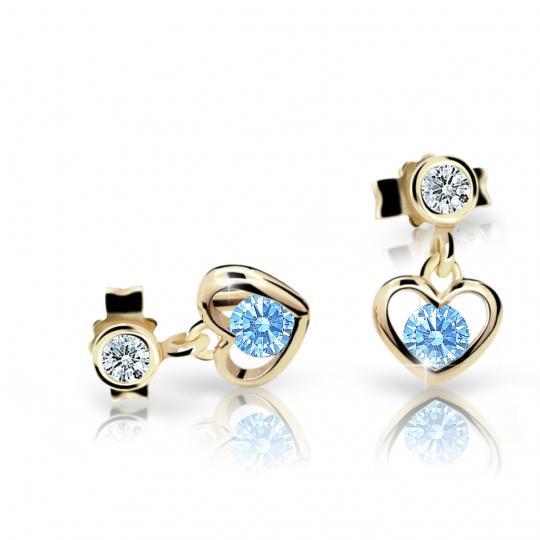 Children's earrings Danfil Hearts C1943 Yellow gold, Arctic Blue, Butterfly backs