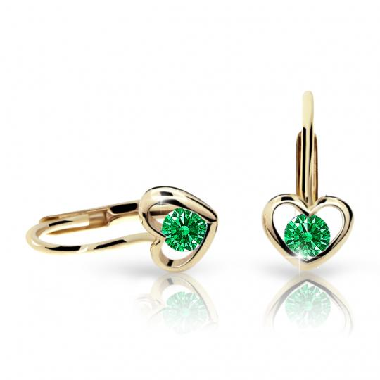 Children's earrings Danfil Hearts C1943 Yellow gold, Emerald Green, Leverbacks