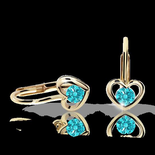 Children's earrings Danfil Hearts C1943 Yellow gold, Mint Green, Leverbacks