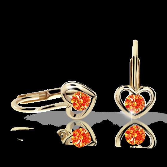 Children's earrings Danfil Hearts C1943 Yellow gold, Orange, Leverbacks