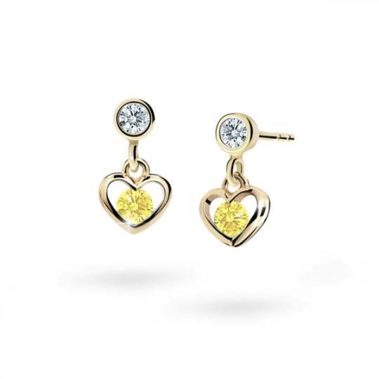 Children's earrings Danfil Hearts C1943 Yellow gold, Yellow, Butterfly backs