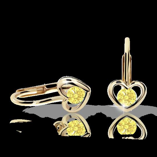 Children's earrings Danfil Hearts C1943 Yellow gold, Yellow, Leverbacks