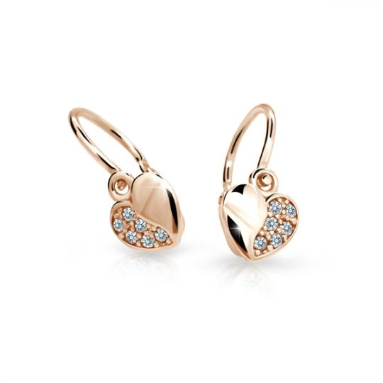Childrens Earrings Danfil Hearts C2160 Made of Pink Gold with White Rhinestones, Brizura Closure