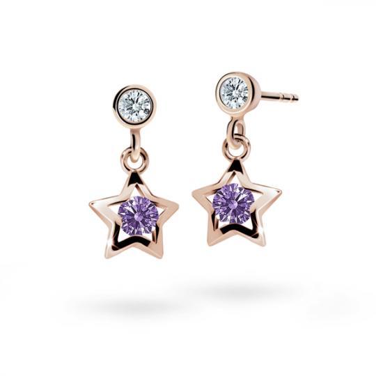 Children's earrings Danfil Stars C1942 Rose gold, Amethyst, Butterfly backs