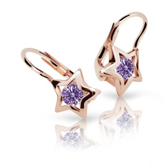 Children's earrings Danfil Stars C1942 Rose gold, Amethyst, Leverbacks