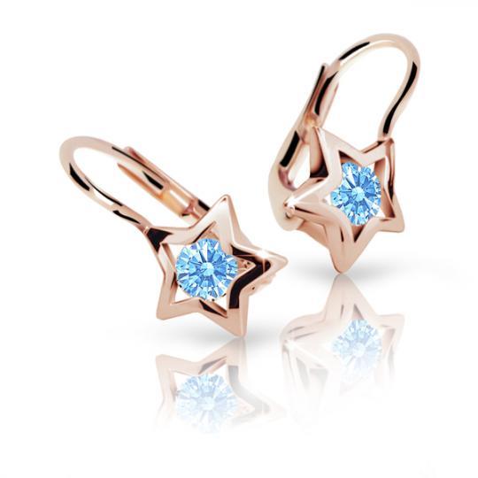 Children's earrings Danfil Stars C1942 Rose gold, Arctic Blue, Leverbacks