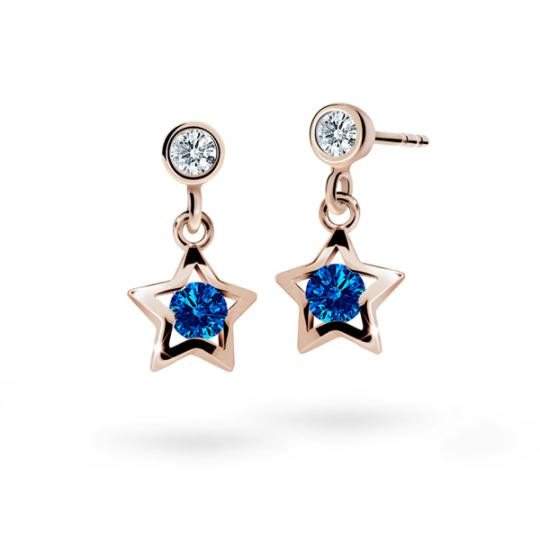 Children's earrings Danfil Stars C1942 Rose gold, Dark Blue, Butterfly backs