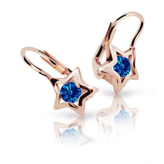 Children's earrings Danfil Stars C1942 Rose gold, Dark Blue, Leverbacks
