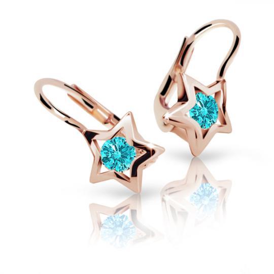 Children's earrings Danfil Stars C1942 Rose gold, Mint Green, Leverbacks