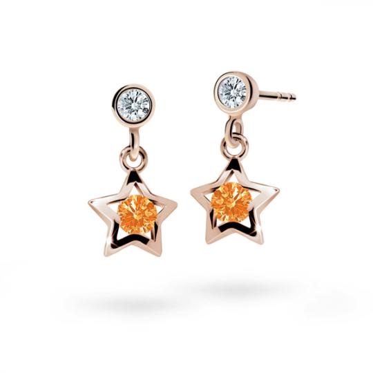 Children's earrings Danfil Stars C1942 Rose gold, Orange, Butterfly backs