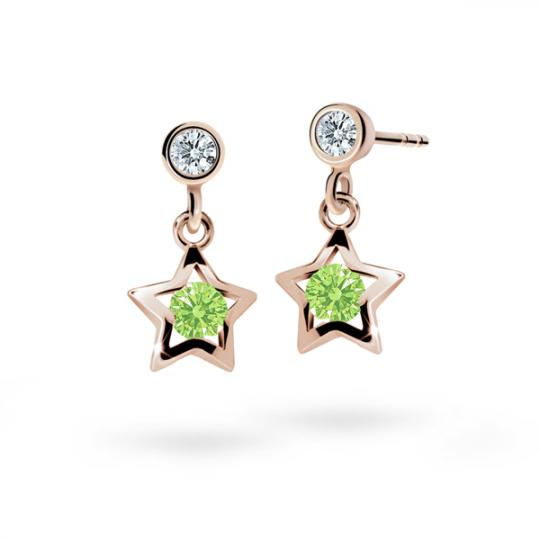 Children's earrings Danfil Stars C1942 Rose gold, Peridot Green, Butterfly backs