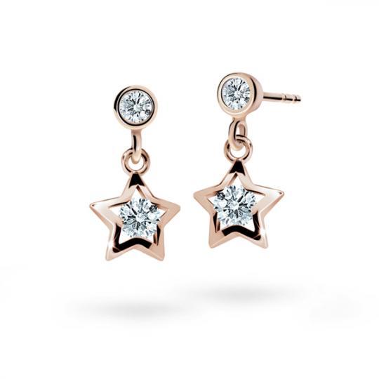 Children's earrings Danfil Stars C1942 Rose gold, White, Butterfly backs
