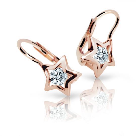 Children's earrings Danfil Stars C1942 Rose gold, White, Leverbacks