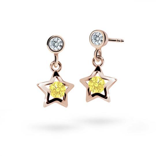 Children's earrings Danfil Stars C1942 Rose gold, Yellow, Butterfly backs