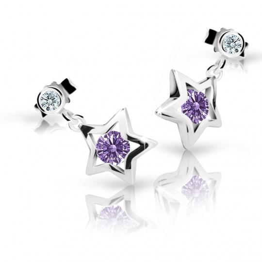 Children's earrings Danfil Stars C1942 White gold, Amethyst, Butterfly backs
