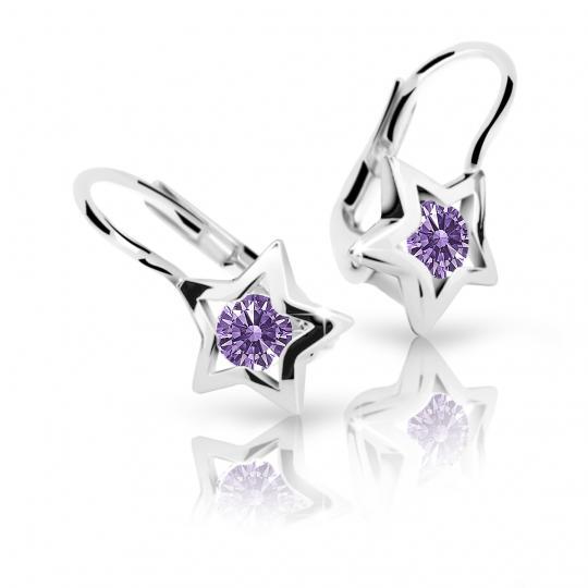 Children's earrings Danfil Stars C1942 White gold, Amethyst, Leverbacks