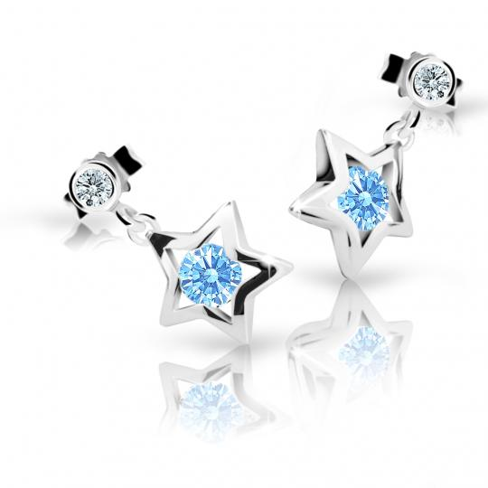 Children's earrings Danfil Stars C1942 White gold, Arctic Blue, Butterfly backs