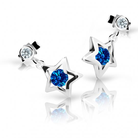 Children's earrings Danfil Stars C1942 White gold, Dark Blue, Butterfly backs