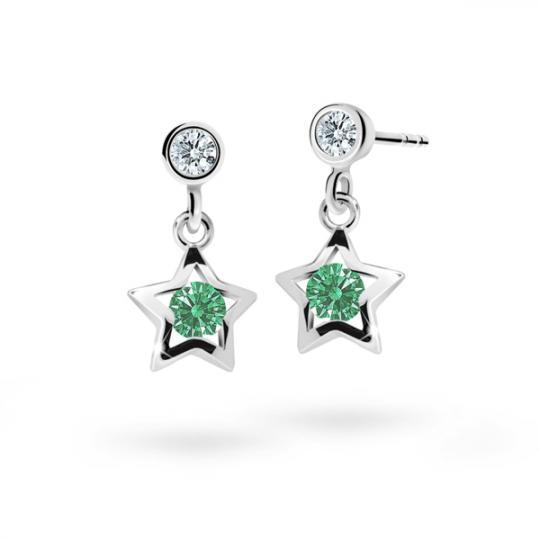 Children's earrings Danfil Stars C1942 White gold, Emerald Green, Butterfly backs