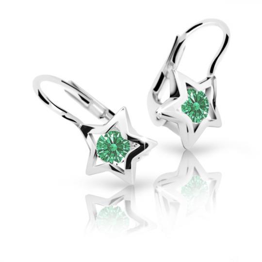 Children's earrings Danfil Stars C1942 White gold, Emerald Green, Leverbacks