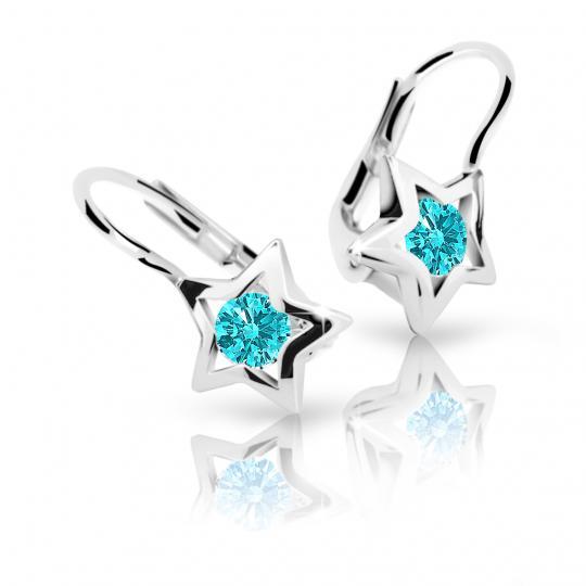 Children's earrings Danfil Stars C1942 White gold, Mint Green, Leverbacks