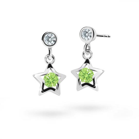 Children's earrings Danfil Stars C1942 White gold, Peridot Green, Butterfly backs