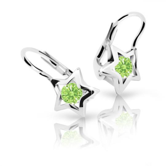 Children's earrings Danfil Stars C1942 White gold, Peridot Green, Leverbacks
