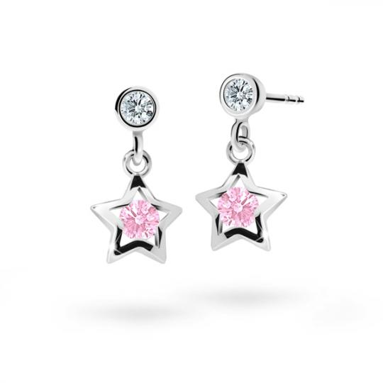 Children's earrings Danfil Stars C1942 White gold, Pink, Butterfly backs
