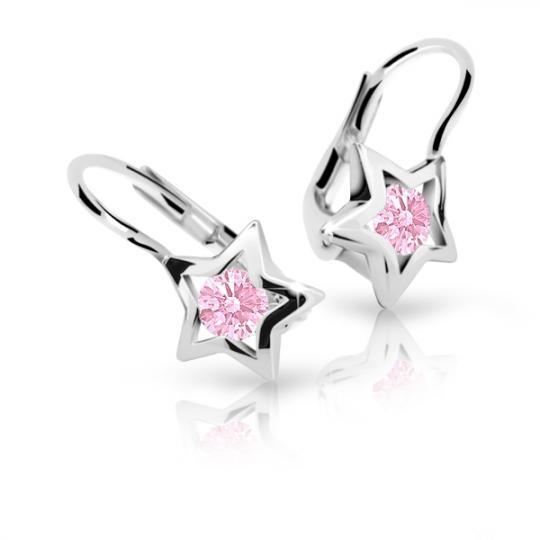Children's earrings Danfil Stars C1942 White gold, Pink, Leverbacks