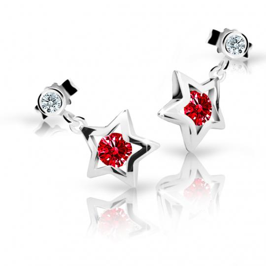 Children's earrings Danfil Stars C1942 White gold, Ruby Dark, Butterfly backs