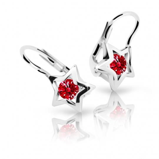 Children's earrings Danfil Stars C1942 White gold, Ruby Dark, Leverbacks