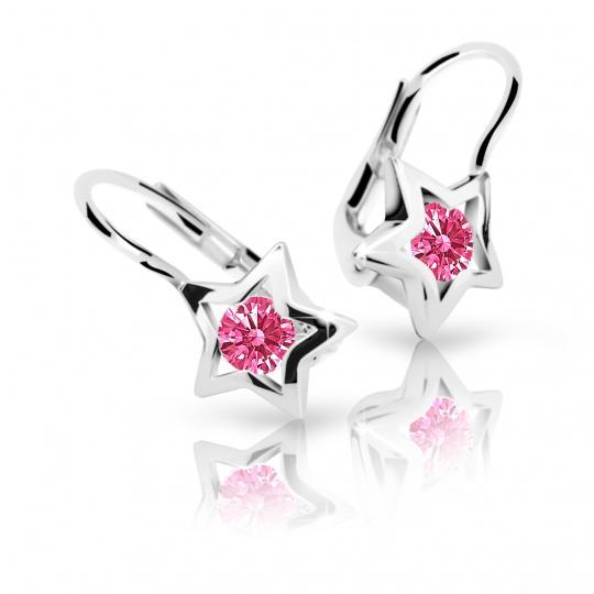 Children's earrings Danfil Stars C1942 White gold, Tcf Red, Leverbacks