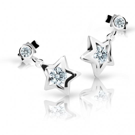 Children's earrings Danfil Stars C1942 White gold, White, Butterfly backs