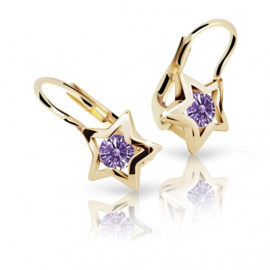 Children's earrings Danfil Stars C1942 Yellow gold, Amethyst, Leverbacks