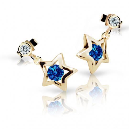 Children's earrings Danfil Stars C1942 Yellow gold, Dark Blue, Butterfly backs