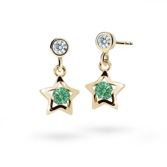 Children's earrings Danfil Stars C1942 Yellow gold, Emerald Green, Butterfly backs