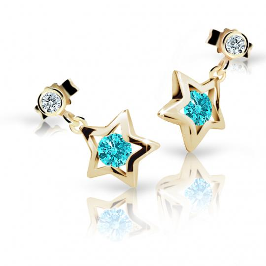 Children's earrings Danfil Stars C1942 Yellow gold, Mint Green, Butterfly backs