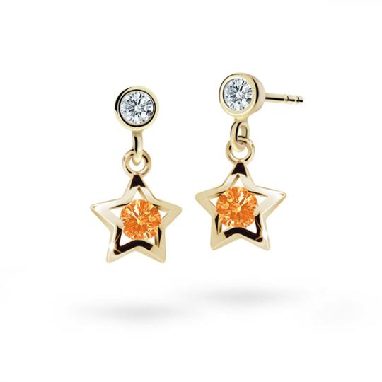 Children's earrings Danfil Stars C1942 Yellow gold, Orange, Butterfly backs