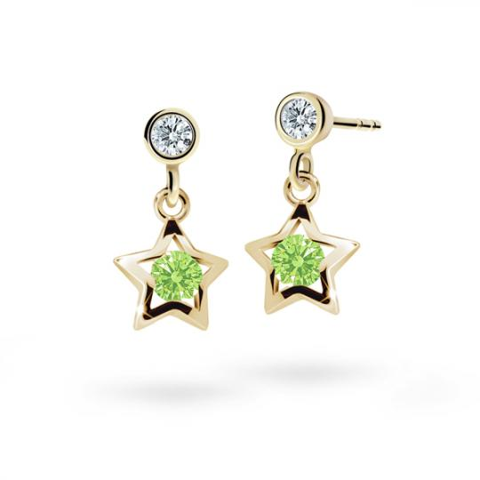 Children's earrings Danfil Stars C1942 Yellow gold, Peridot Green, Butterfly backs