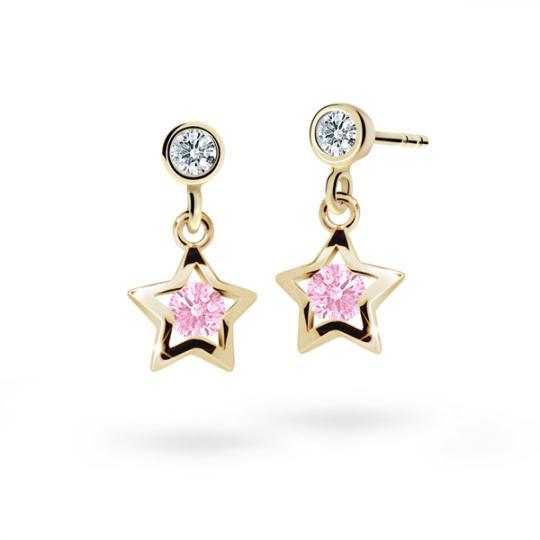 Children's earrings Danfil Stars C1942 Yellow gold, Pink, Butterfly backs