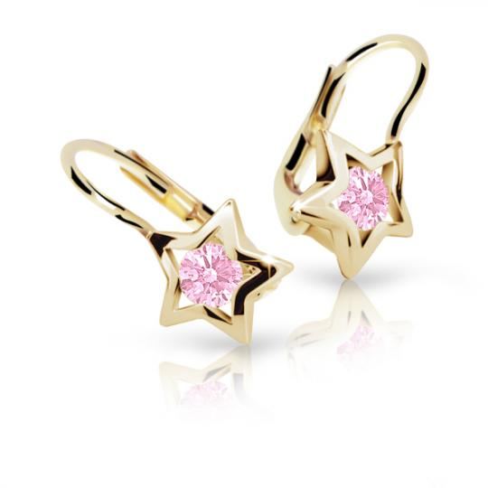 Children's earrings Danfil Stars C1942 Yellow gold, Pink, Leverbacks
